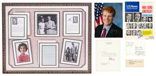 "Lot of (9) Kennedy Signed Photos Including 1960 JFK Signed and Framed 16x13"" Letter Collage and Jacqueline Kennedy Signed and Framed 32x26.5"" Letter Collage (JSA & Beckett)"