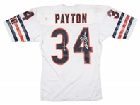 1984-87 Walter Payton Game Used and Signed Chicago Bears Road Jersey With Team Repairs (Newport Sports Museum LOA, MEARS & Beckett)