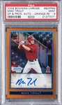2009 Bowman Chrome Draft Prospects #BDPP89 Mike Trout (Orange Refractor) Signed Card (#13/25) – PSA MINT 9
