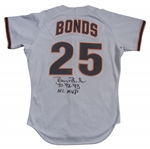 1996 Barry Bonds Game Used and Signed San Francisco Giants Road Jersey-Given to Barry Larkin (Larkin LOA & JSA)