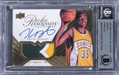 2007-08 Exquisite Collection #94 Kevin Durant Rookie Patch Autograph Gold (#12/35) - BGS AUTHENTIC