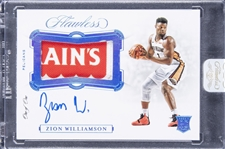 2019-20 Panini Flawless #HP-ZWL Zion Williamson Signed Game Used Jersey Advertising Patch Rookie Card (#1/1) – Panini Sealed Case