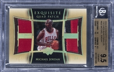"2004-05 UD ""Exquisite Collection"" Patches Quad Parallel #MJ2 Michael Jordan Game Used Quad Patch Card (#1/1) - BGS GEM MINT 9.5"