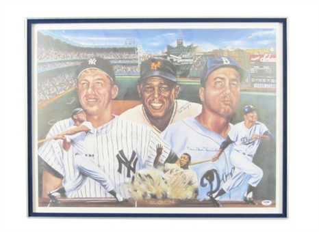 Mickey Mantle, Willie Mays and Duke Snider Signed Lithograph