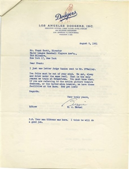 Historically Significant Lot of Letters to General Managers in 1961 Regarding Negro Housing During Spring Training (49 Pages) Original Signatures Include Walter OMalley & Hank Greenberg
