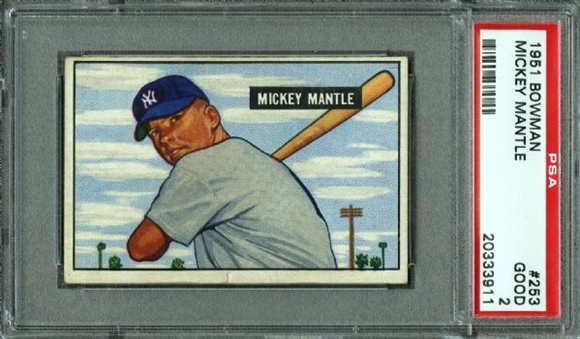 1951 Bowman #253 Mickey Mantle (Rookie Card) PSA Good 2