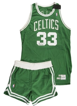 1989/90 Larry Bird Game Worn and Signed Boston Celtics Road Jersey & Shorts