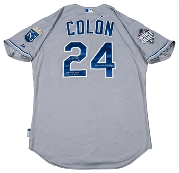 2015 Christian Colon World Series Game 5 Used Road Jersey Photo Matched (Anderson Authentics)