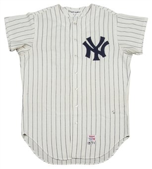 1971 Thurman Munson Game Used New York Yankees Home Jersey - Earliest Known-(MEARS Guaranteed)