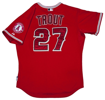 2015 Mike Trout  Game Used 9 Home Run and 42 Total Hits Signed/Inscribed Photo Matched Angels Jersey (Anderson Authentics  LOA)