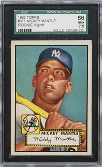 1952 Topps #311 Mickey Mantle Rookie Card – SGC 86 NM+ 7.5