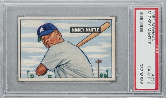 1951 Bowman #253 Mickey Mantle Rookie Card – PSA EX-MT 6