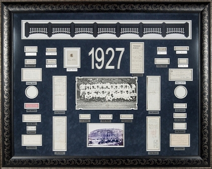 "1927 New York Yankees Team Signed 48"" x 56"" Display Piece-31 Signatures Including Ruth, Gehrig, Huggins and all Rarities(PSA/DNA)"