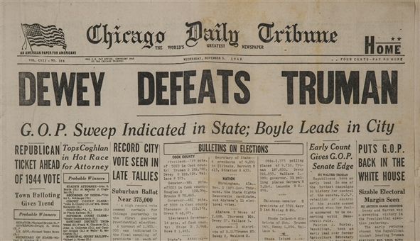 "1948 ""Dewey Defeats Truman"" Chicago Tribune Newspaper- Most Famous Newspaper In the World"