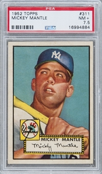 1952 Topps #311 Mickey Mantle Rookie Card - PSA NM+ 7.5