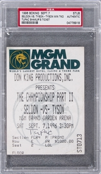 1996 Tupac Shakurs Personal Ticket Stub to Seldon vs. Tyson Boxing Match - The Night He Was Murdered- (PSA/DNA)
