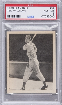 1939 Play Ball #92 Ted Williams Rookie Card - PSA NM-MT 8