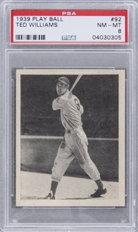 1939 Play Ball #92 Ted Williams Rookie Card – PSA NM-MT 8