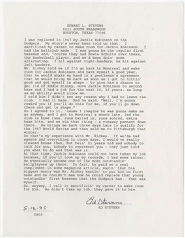 1995 Edward Stevens Signed Letter Regarding Him Giving Up His Roster Spot To Jackie Robinson (PSA/DNA & University Archives)