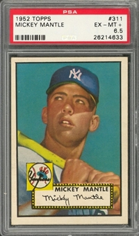 1952 Topps #311 Mickey Mantle Rookie Card – PSA EX-MT+ 6.5