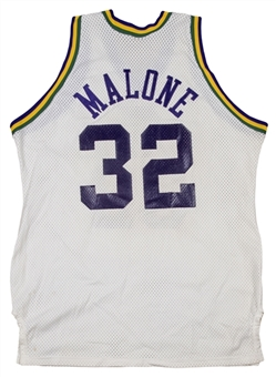 1985-86 Karl Malone photo matched Game Used Utah Jazz Rookie Season Home Jersey (Resolution Photomatching)