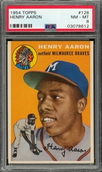 1954 Topps #128 Hank Aaron Rookie Card – PSA NM-MT 8