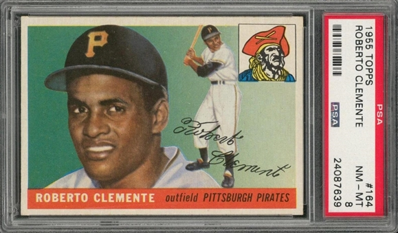 1955 Topps #164 Roberto Clemente Rookie Card – PSA NM-MT 8