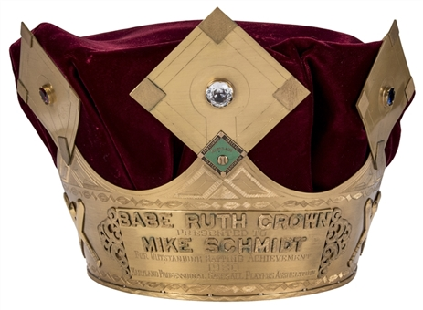 "Mike Schmidts Actual 1980 Babe Ruth ""Sultan of Swat Award"" Crown Presented To and Personally Owned by Schmidt -MVP and WS MVP Season"