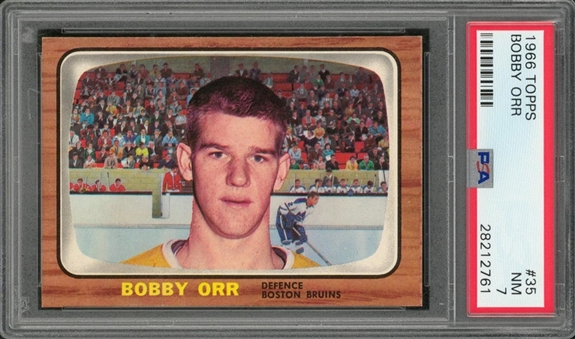 1966/67 Topps #35 Bobby Orr Rookie Card – PSA NM 7