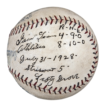 1928 Lefty Grove Game Used, Signed & Inscribed Official E.S. Barnard American League Baseball From 7/31/28 Game For 57th Career Victory & 14th Win of Season (Beckett)
