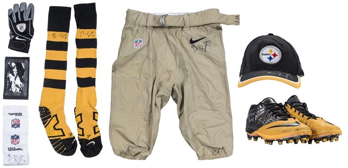 2014 Ben Roethlisberger Game Used & Signed/Inscribed Pittsburgh Steelers 9 Piece Uniform Ensemble For Team Record 522 Yards and 6 TDs On 10/26/14 (Big Ben LOA)