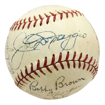 1951 World Series Champion New York Yankees Team Signed OAL Baseball With 30 Signatures Including Mantle & DiMaggio! (PSA/DNA & JSA)