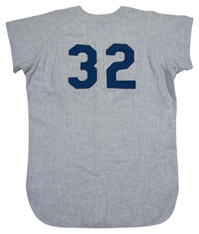 1963 Sandy Koufax Game Used And Signed Los Angeles Dodgers Road Jersey (MEARS A 9.5 & Beckett)Cy Young and MVP Season