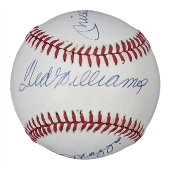Ted Williams, Mickey Mantle & Joe DiMaggio Multi Signed OAL Brown Baseball (PSA/DNA)