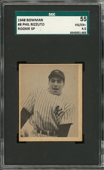 1948-1954/55 Bowman and Parkhurst Graded Hall of Famers Pair (2 Different) – Including Rizzuto and Sawchuk