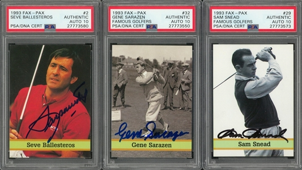 "1993 Fax Pax ""Famous Golfers"" Signed Cards Trio (3 Different) – All PSA/DNA GEM MT 10 Signatures!"