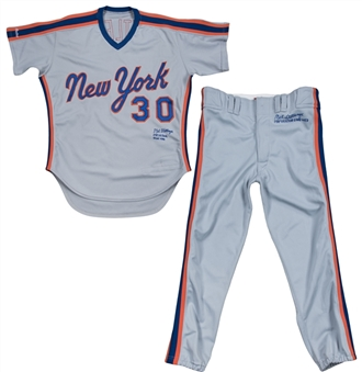 1987 Mel Stottlemyre All Star Game Worn, Signed & Inscribed New York Mets Road Uniform - Jersey & Pants (Beckett)