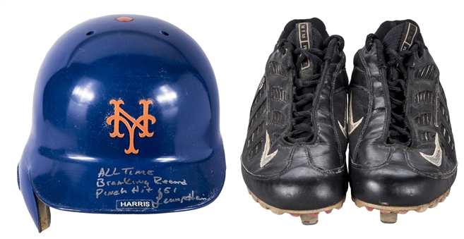 Lot of (2) Lenny Harris Game Used, Signed & Inscribed Batting Helmet & Nike Cleats Used For Breaking MLB Pinch Hits Record (JT Sports & Beckett)