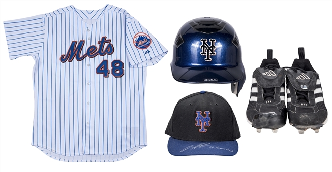 Lot of (4) Aaron Heilman 2006-2007 Game Used New York Mets Home Jersey, Batting Helmet, Cap (signed) & Adidas Cleats (MLB Authenticated & Mets-Steiner)