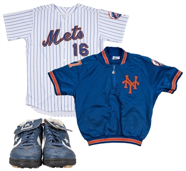 Lot of (3) David Cone Game Used & Signed New York Mets Home Jersey, Warm Up Jacket & Converse Turf Shoes (unsigned) (Steiner, JT Sports, Beckett)