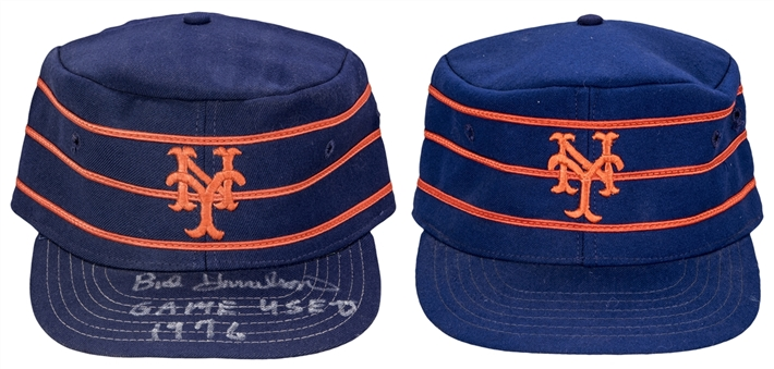 Lot of (2) 1976 New York Mets Game Used Pill Box Hats (1 signed) (Beckett)