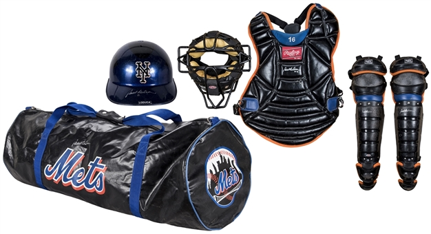Lot of (5) 2006 Paul Lo Duca Game Used New York Mets Catchers Equipment: Chest Protector, Face Mask, Shin Guards, Bag & Helmet (Mets-Steiner)