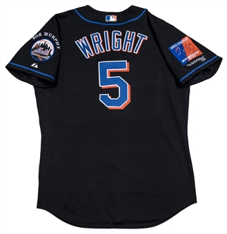 "2004 David Wright Game Issued, Signed & ""Rookie Year"" Inscribed New York Mets Black Alternate Jersey (MLB Authenticated)"