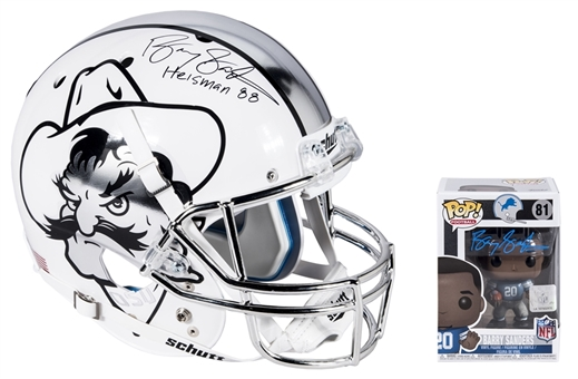 Lot of (2) Barry Sanders Autographed Oklahoma State Full Size Replica Helmet and Detroit Lions NFL Legends Funko Pop Figurine (Schwartz)