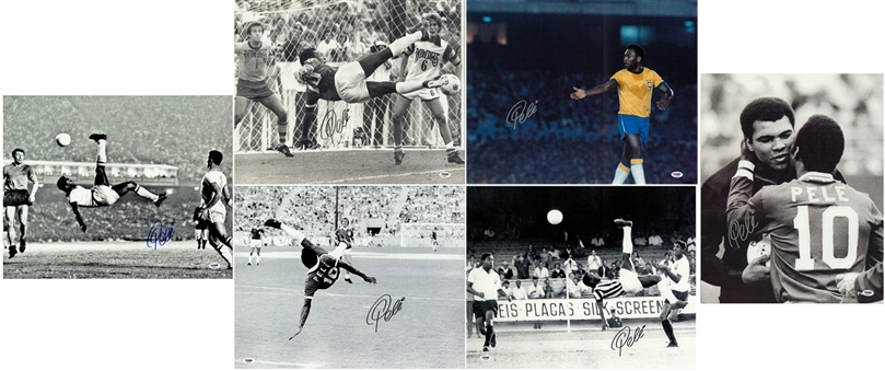 Lot of (6) Pele Signed 16x20 Various Prints (PSA/DNA)