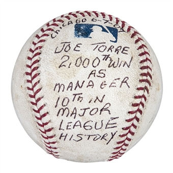 2007 Yankees Game Used & Inscribed OML Selig Baseball Used on 6/7/07 For Joe Torres 2,000th Managerial Win (MLB Authenticated)