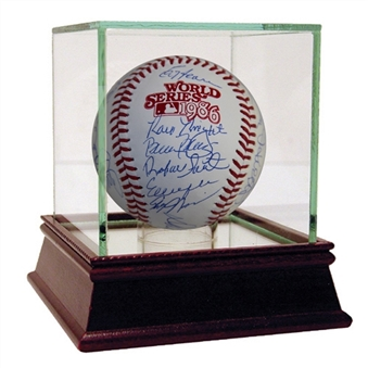 1986 New York Mets Team Signed MLB World Series Baseball With 28 Signatures Including Gooden, Strawberry, Hernandez & Knight (Steiner)