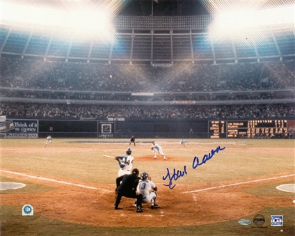 Hank Aaron Signed 16x20 At Bat Photograph (MLB Authenticated & Steiner)