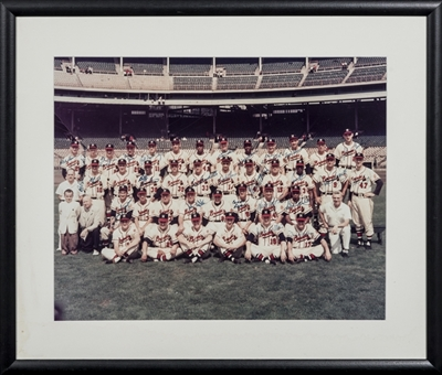 1957 Milwaukee Braves Team Signed Photo With 25 Signatures In 26x22 Framed Display (JSA)