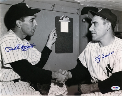 Yogi Berra and Phil Rizzuto Dual Autographed 11x14 B&W Photo (PSA/DNA)